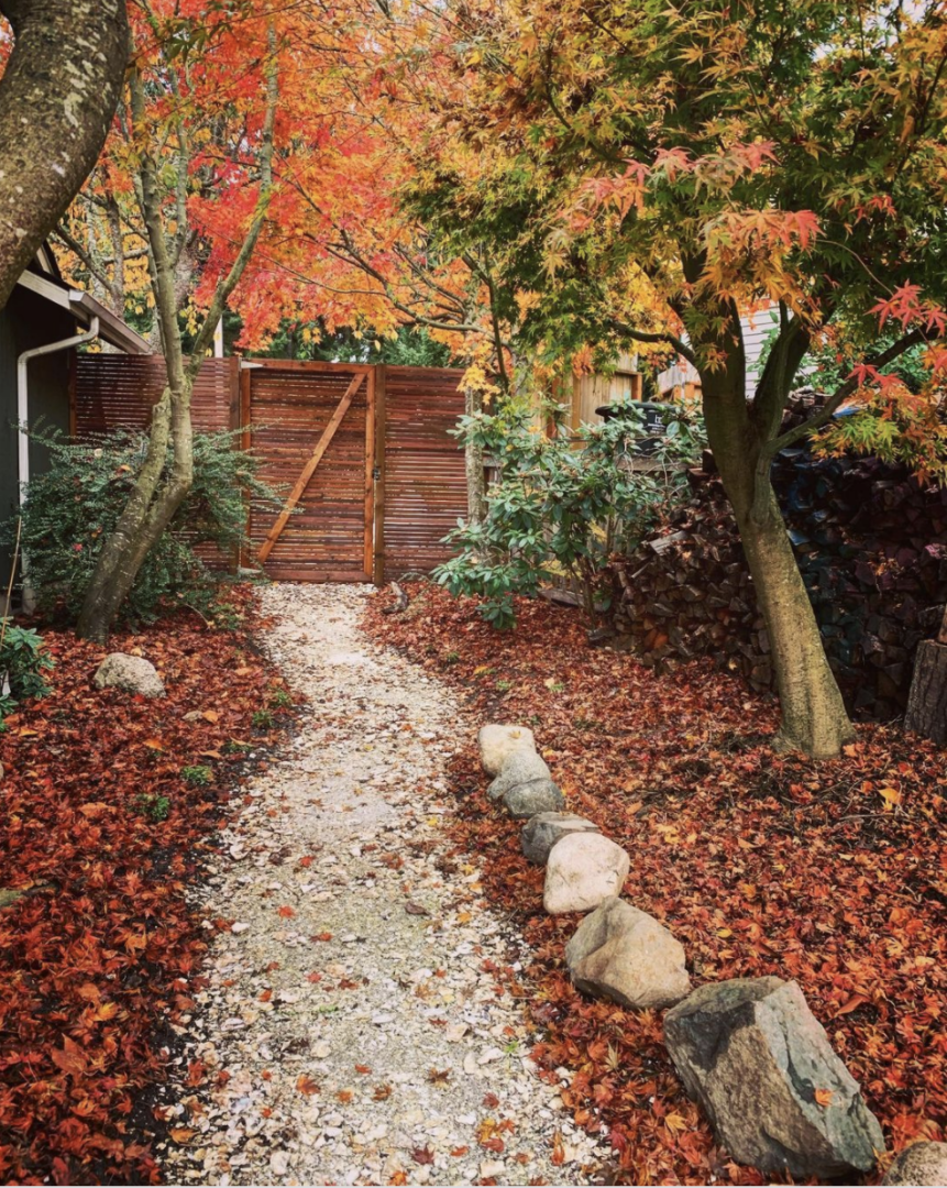 Crushed oyster shell pathway